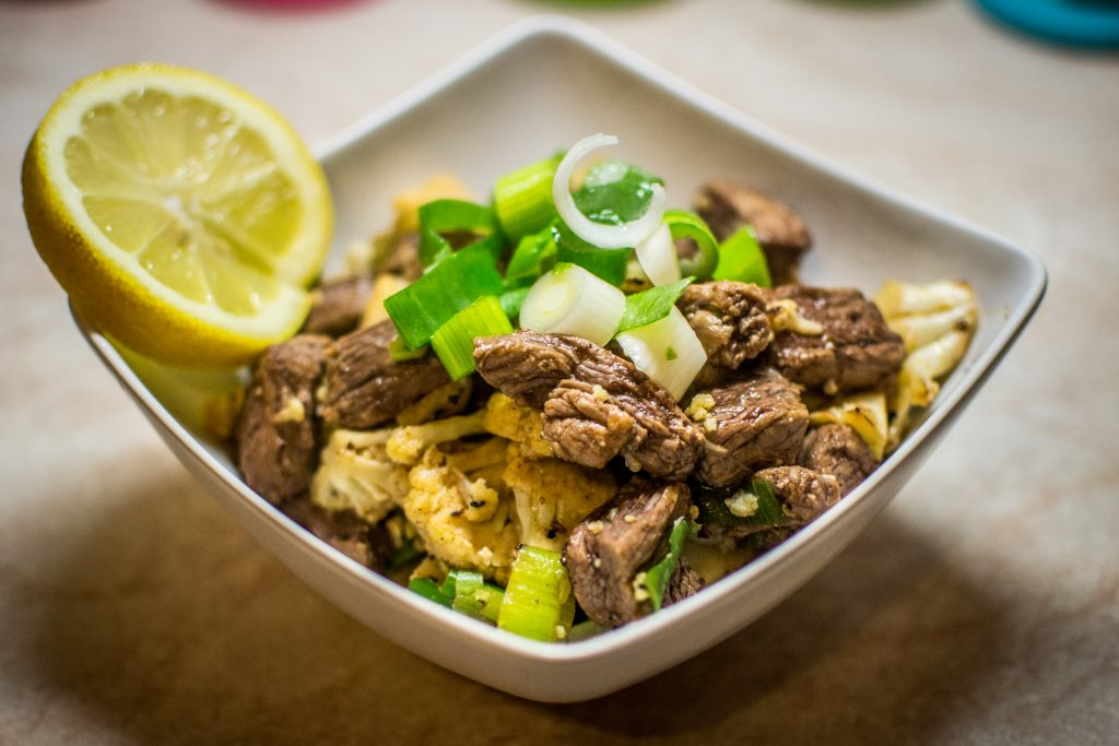 Beef cauliflower stir fry