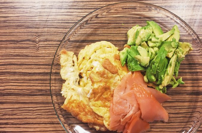 Scrambled eggs with salmon and avocado