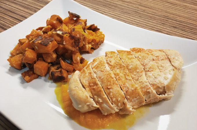 Perfect chicken breast with baked sweet potatoes